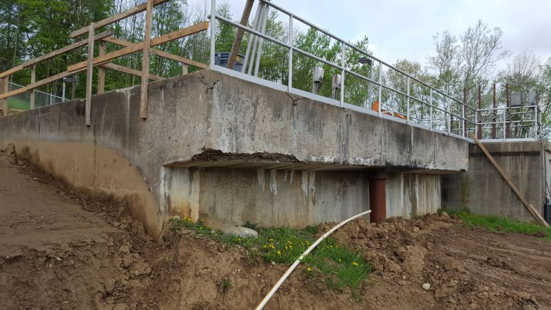 Failed Concrete being replaced at Secondary Clarifiers